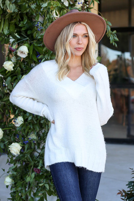 Ivory - Plush Knit Sweater Front View