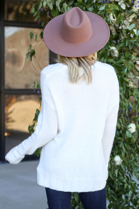 Ivory - Plush Knit Sweater Back View