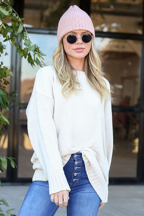 Ivory - Luxe Chenille Sweater Tucked In