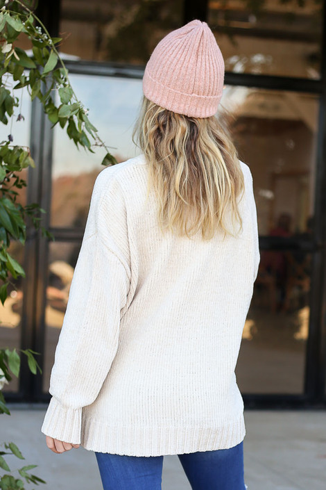 Ivory - Luxe Chenille Sweater Back View