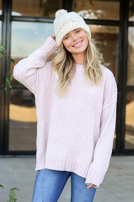 Blush - Luxe Chenille Sweater Front View