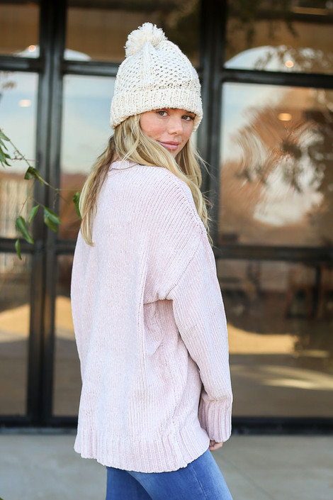 Blush - Luxe Chenille Sweater Side View