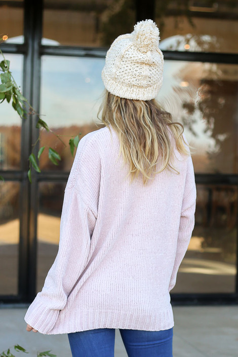 Blush - Luxe Chenille Sweater Back View