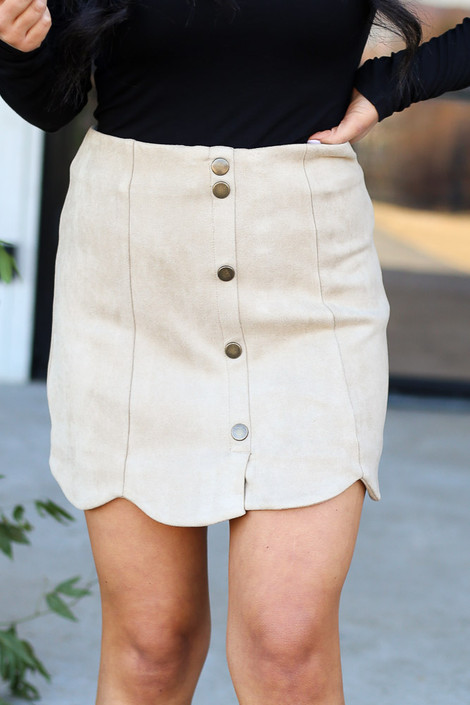 Taupe - Scalloped Hem Faux Suede Mini Skirt Detailed View