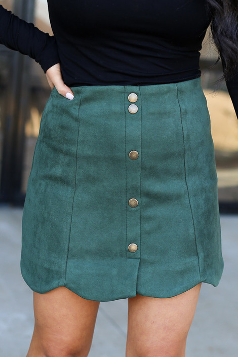 Olive - Scalloped Hem Faux Suede Mini Skirt Detail View