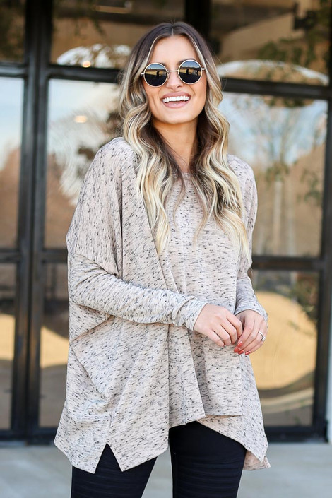 Taupe - Heathered Oversized Top Side View