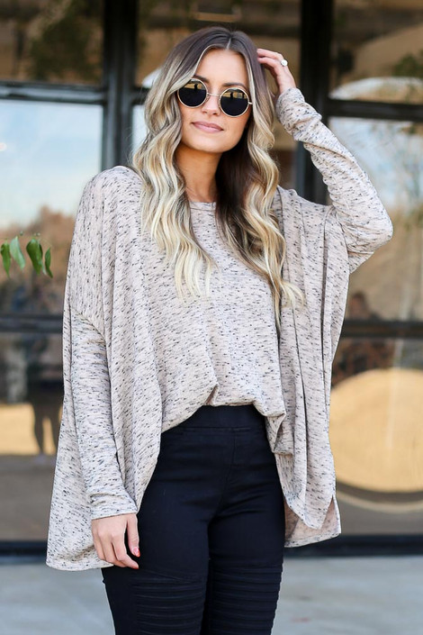 Taupe - Heathered Oversized Top Front Tucked