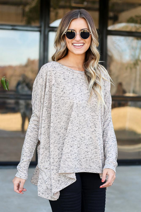 Taupe - Heathered Oversized Top