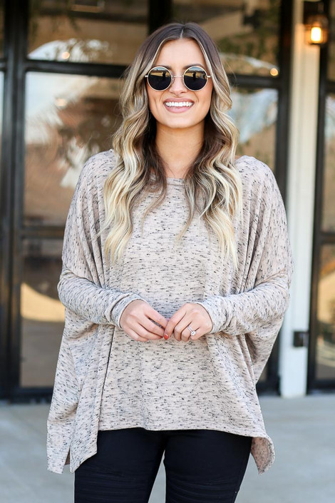 Taupe - Heathered Oversized Top Front View