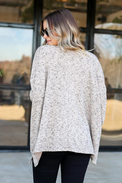Taupe - Heathered Oversized Top Back View