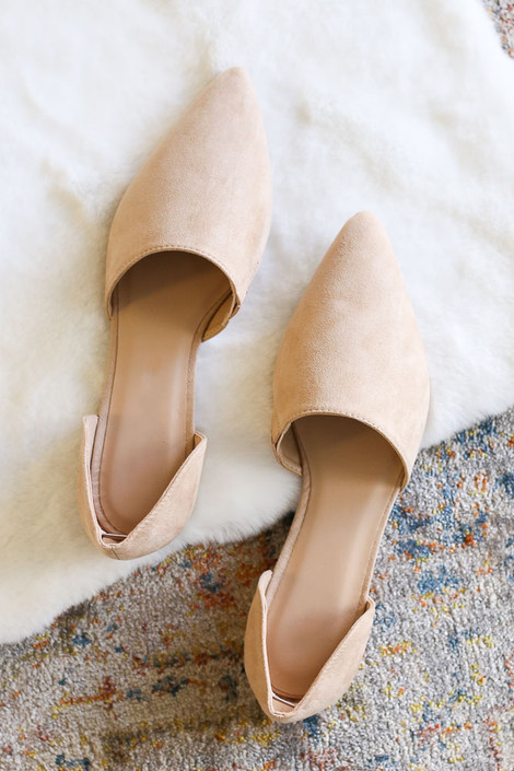 Natural - Pointed Toe Faux Suede D'Orsay Flats Flat Lay