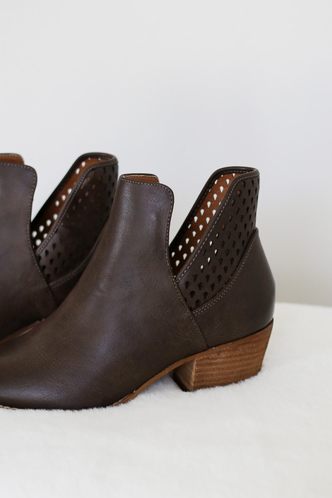 Brown - Laser Cut Cut out Ankle Booties Detail View