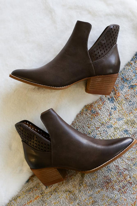 Brown - Laser Cut Cut out Ankle Booties with contrast heel