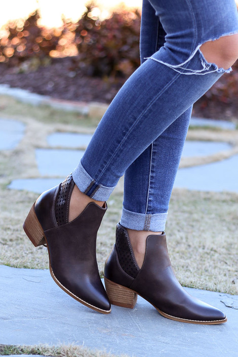 Brown - V cut vegan leather booties with laser cut details