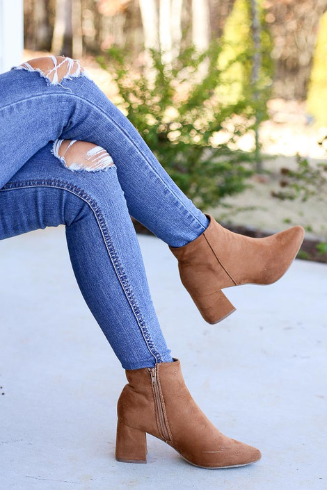Tan - Microsuede Block Heel Booties with side zipper