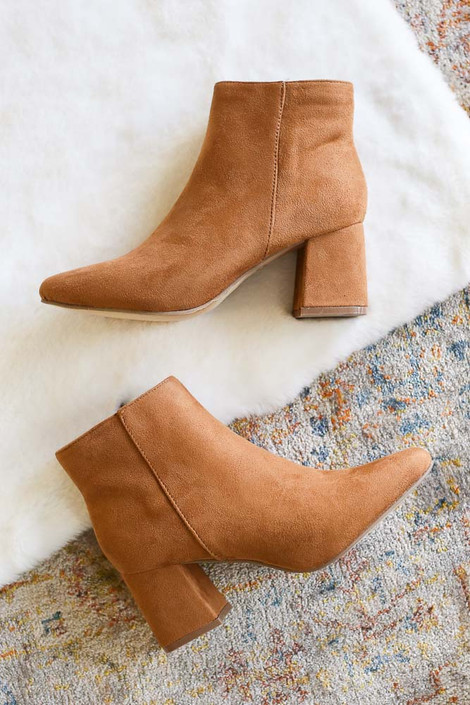 Tan - Microsuede Block Heel Booties Flat Lay