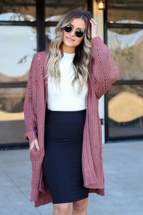 Marsala - Chunky Knit Cardigan Front View