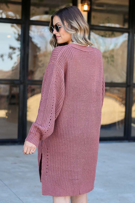 Marsala - Chunky Knit Cardigan Back View