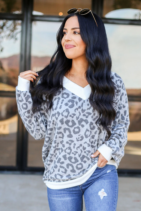 Grey - Dress Up Model wearing Grey Leopard Fleece Pullover