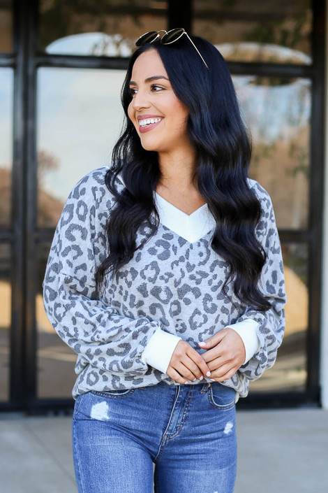 Dress Up Model wearing Grey Leopard Fleece Pullover Front View
