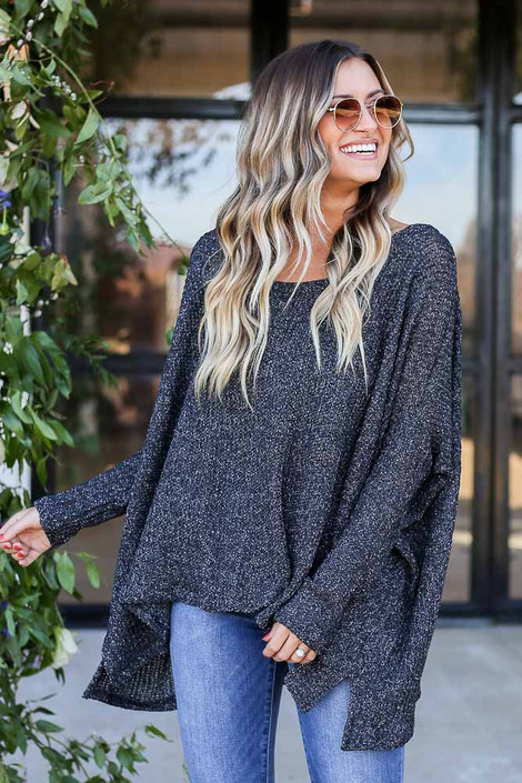 Black - Oversized Loose Knit Sweater Side View