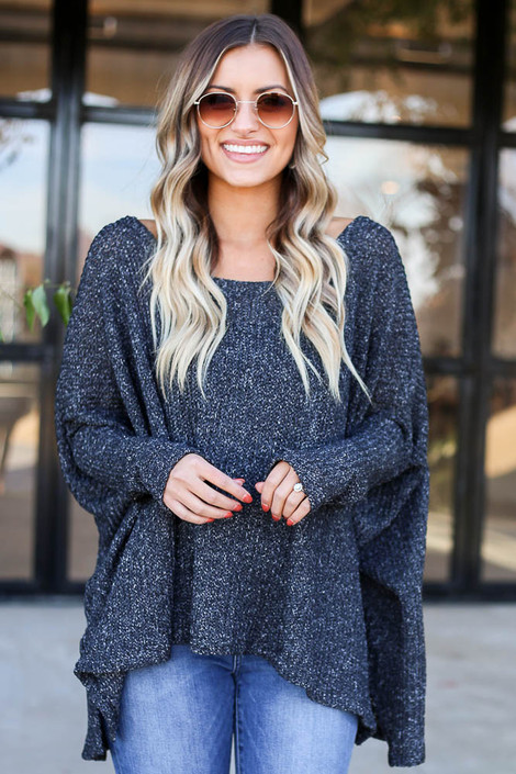 Black - Oversized Loose Knit Sweater Front View