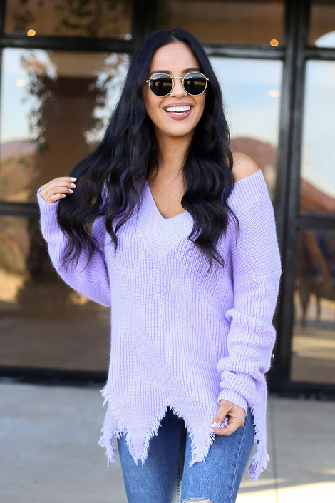 Lilac - Distressed Hem Sweater