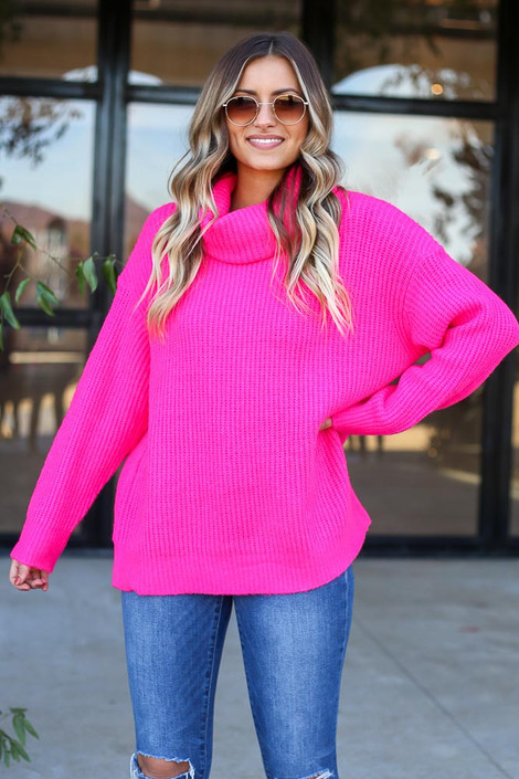 Fuchsia - Turtleneck Oversized Sweater Full View