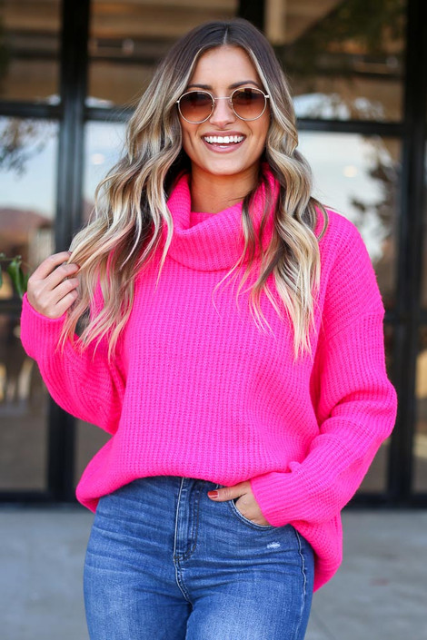 Fuchsia - Turtleneck Oversized Sweater Front View Tucked In