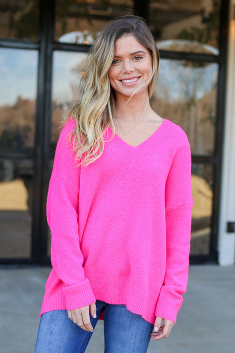 Neon Pink - Slouchy V-Neck Sweater