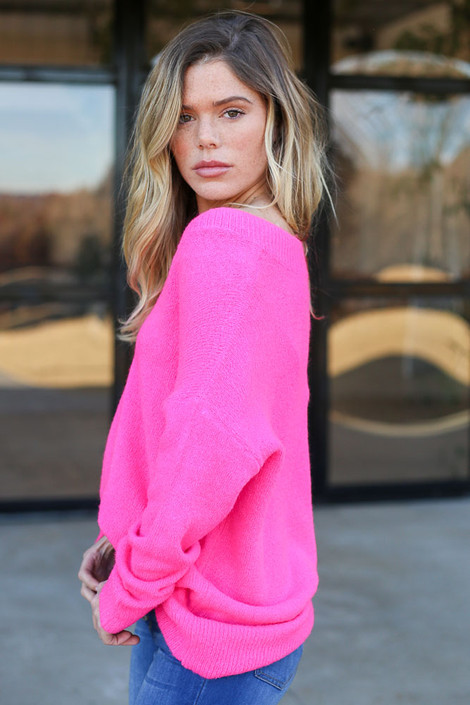 Neon Pink - Slouchy V-Neck Sweater Side iew