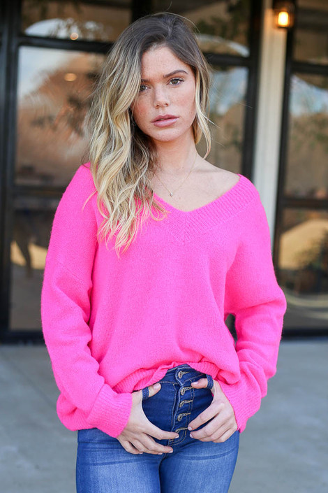 Neon Pink - Slouchy V-Neck Sweater Front View