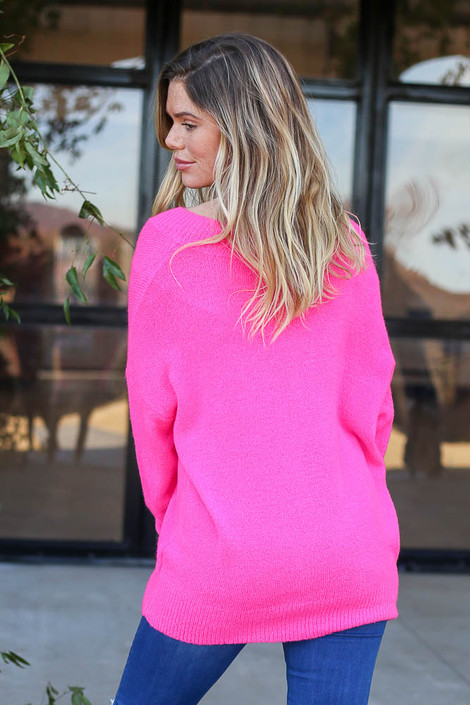 Neon Pink - Slouchy V-Neck Sweater Back View