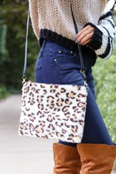 White - Fuzzy Leopard Print Crossbody on Model