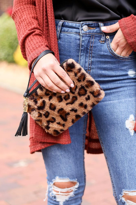 Mocha - Fuzzy Leopard Print Wristlet from Dress Up