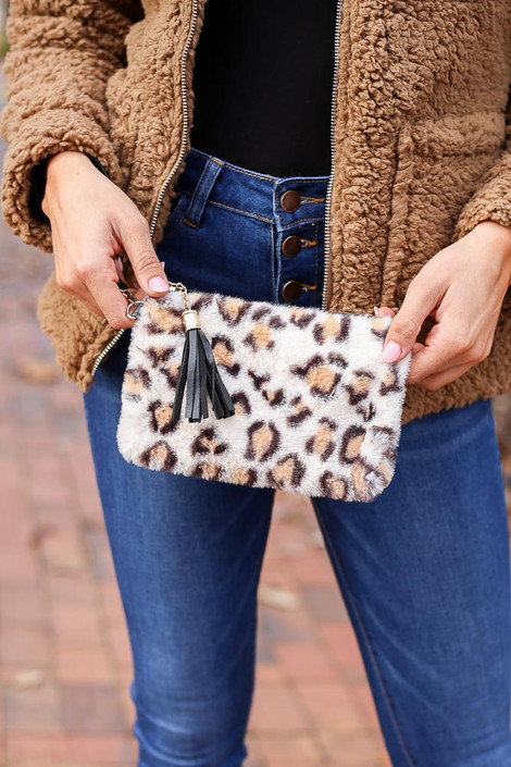 White - Fuzzy Leopard Print Wristlet from Dress Up