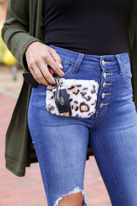 White - Fuzzy Leopard Print Coin Purse with Keys