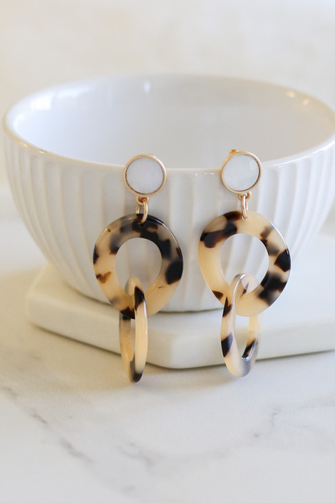Taupe - Tortoise Acrylic Drop Earrings Flat Lay