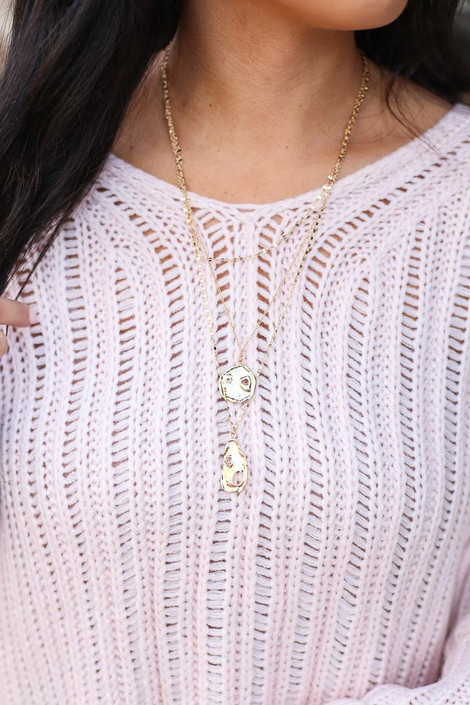 Gold - Layered Pendant Necklace on Model