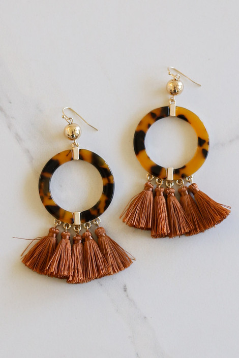 Rust - Tortoise + Tassel Statement Earrings Flay Lay
