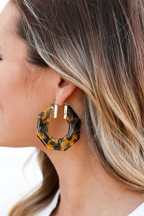 Camel - Acrylic Hexagon Hoop Earrings Detail View
