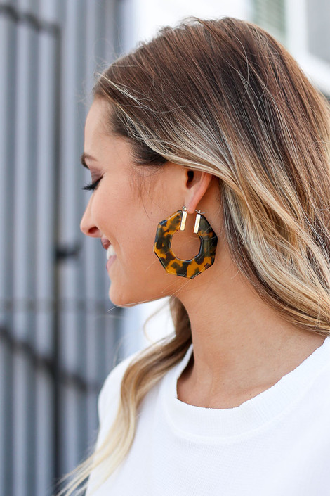 Camel - Acrylic Hexagon Hoop Earrings