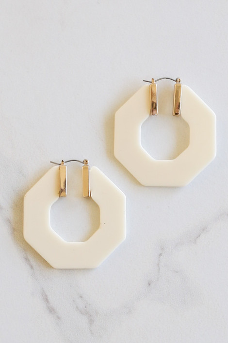 Ivory - Acrylic Hexagon Hoop Earrings Flat Lay