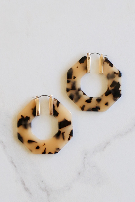 Taupe - Acrylic Hexagon Hoop Earrings Flat Lay