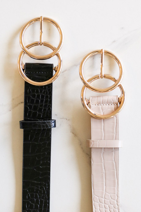 Nude + Black - Croc Printed Belt Flat Lay
