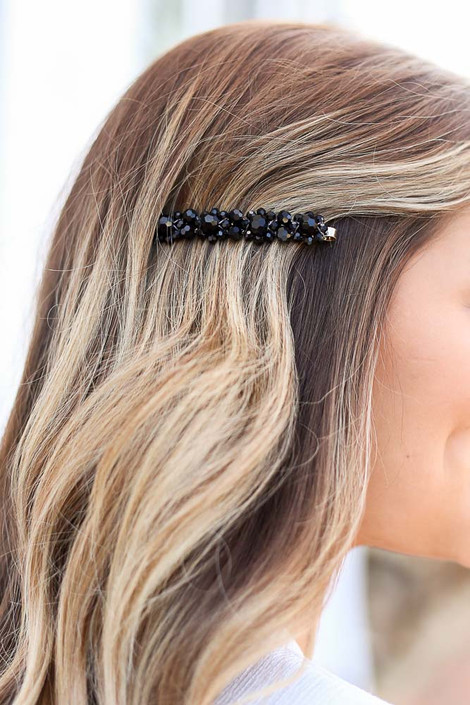 Black - Beaded Hair Pin Detail View
