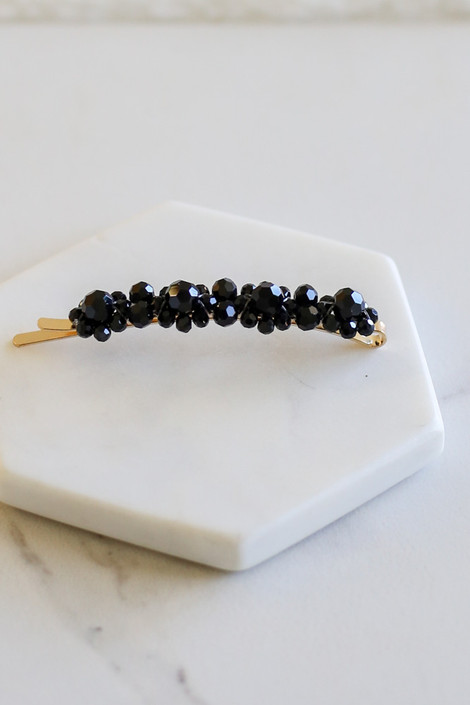Black - Beaded Hair Pin Flat Lay