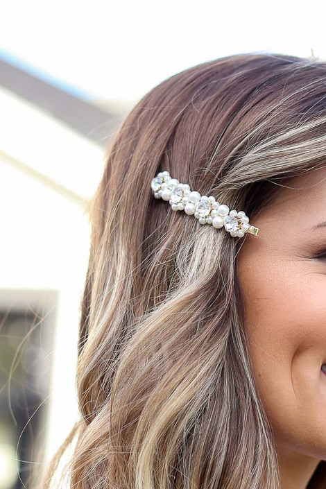 Ivory - Pearl and Rhinestone Hair Pin