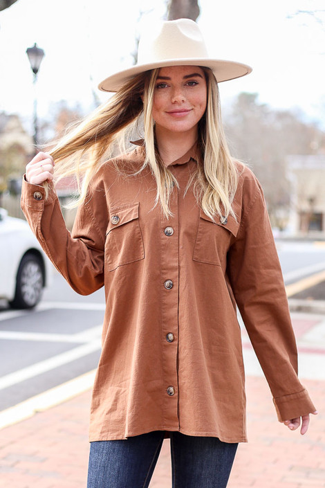 Brown - Cargo Shirt Jacket