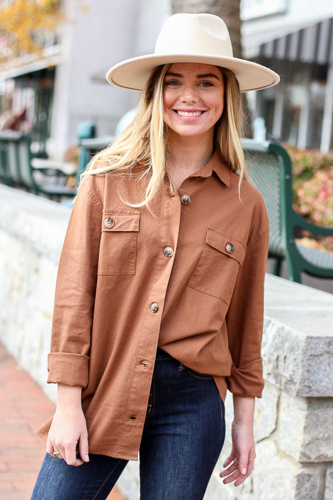 Brown - Cargo Shirt Jacket Tucked In